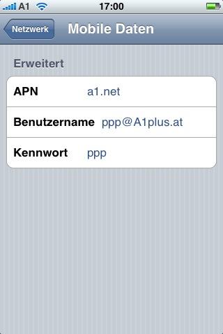iPhone A1 APN Settings
